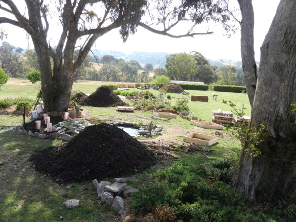 Before view from the top pond with various materials to be used in the garden