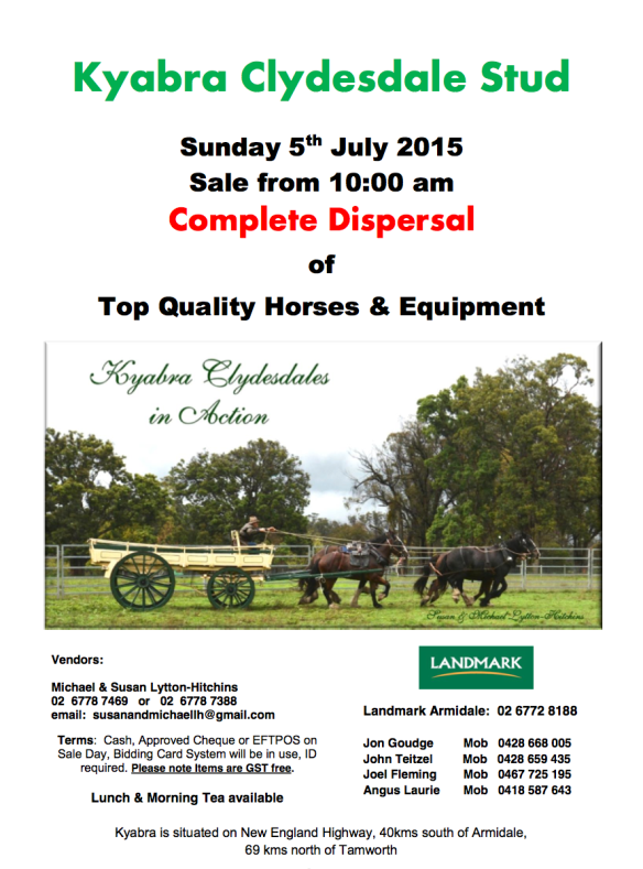 Clydesdale Dispersal Sale flyer